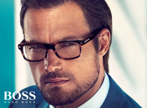 Hugo Boss glasses on a model