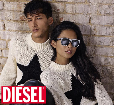 Diesel sunglasses on model