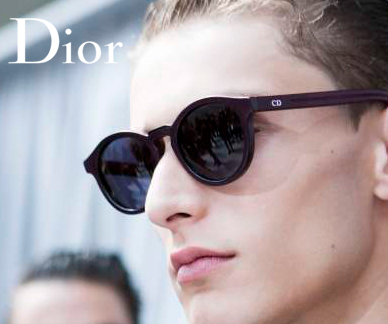 Dior Homme glasses on a model