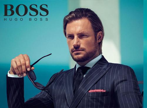 Hugo Boss glasses on a model